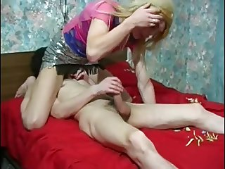 Blonde crossdresser fucked