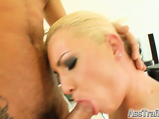 This blonde with a big ass gets ass fucked hard. She squirts like crazy and then goes back to more ass fucking. A big cumshot goes down her throat