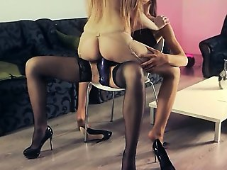 fine babes fucking with strap in garters