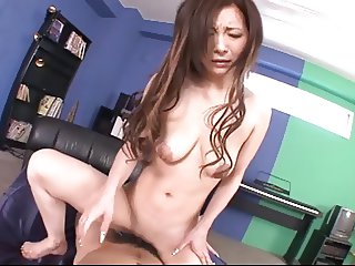 Japanese shaved babe got creamy sperm in her vagina