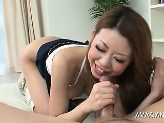 Fit busty asian sucks his dick very hard