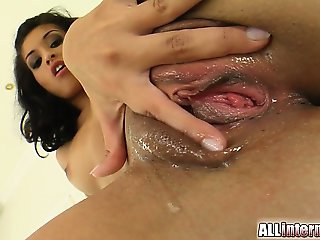 Aleah is a very sexy brunette with a thick ass. Our guys pounds her pussy and dumps his hot load inside her pussy