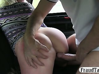 Nasty amateur having dirty sex with her taxi driver