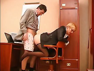 secreter get feet licking and footjob in office