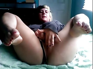 Horny Chubby GF showing her Wet Pink Pussy and Yummy Feet