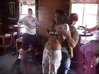 woman stripped and manhandled at bar