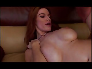 Nasty brun MILF with big tits gets a hard wet rod in mouth and another in cunt