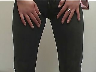 asian bitch gets pussy stimulation with jeans on
