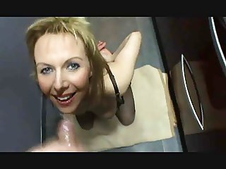 Crazy milf eat cum from condom