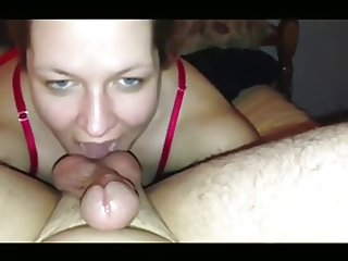 wife gives blowjob, rim job and sucks balls until facial