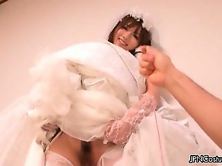 Japanese cosplay bride showing her tight part2
