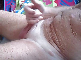 Grandpa plays with shaved cock