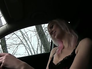 Blonde amateur student fucked in car in public