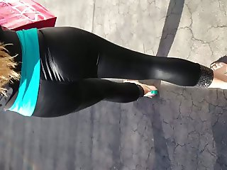 Mexican in see thru black leggings