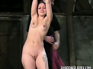 Young slave girl Pixie tied and whipped to tears in harsh small tit spanking and suction cups nipple punishments