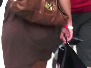 Bubble butt girl with a see through brown dress vpl