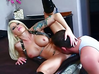 Hot blonde tattooed MILF gets boned I10