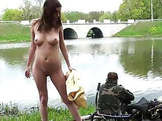 Public Nudity 8: Naked in front of the fishermen