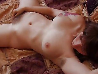 brunette with hairy pits fingers her sweet hairy pussy