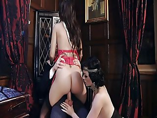 British sluts get fucked in stockings in a FFM threesome
