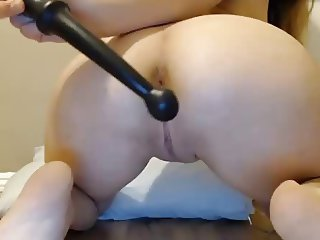 Anal toy and vibe used on pussy with nipple clamps on girl