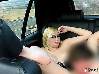 Busty blonde cunt licked and fucked in faketaxi