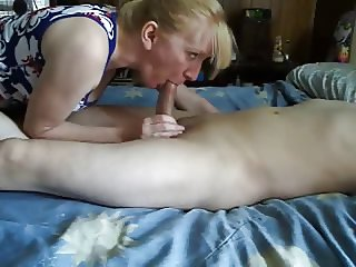 Mature wife handjob and cum swallow-CFNM