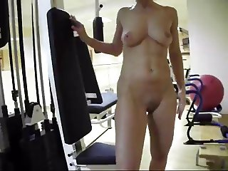 Naked at fitness club