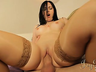 Attractive pale brunette banged out of her mind
