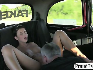 Busty milf chose to suck drivers cock in the backseat