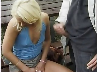 Slut Threesome Outside with Boyfriend and Another Man