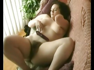 Fat Chubby Teen watching porn and masturbating hairy pussy