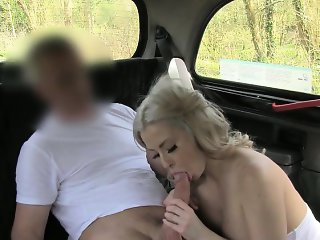 Huge tits amateur fucked and covered in cum by driver