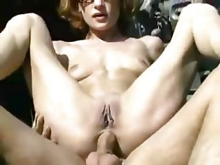 Skinny Redhead Assfucked in the Pasture