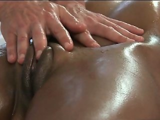 Awesome brunette is massaged by big guy part6