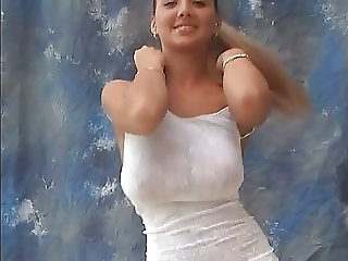 young busty model bouncing her braless huge titties