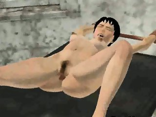 Short haired 3D babe sucking on a zombies cock