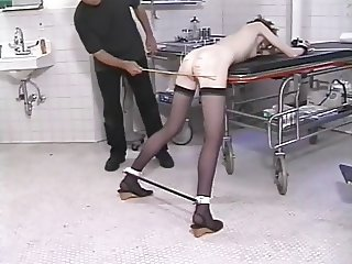 Small tits hottie in nylons spanked hard by her master