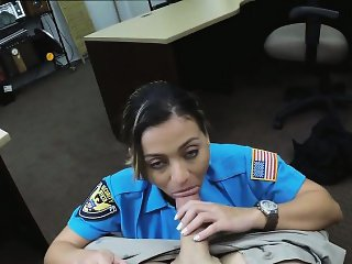 Lady officer sucks and fucks the pawnman