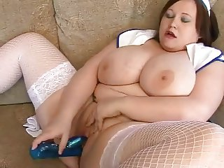 Horny Fat BBW Nurse with nice tits plays with her Pussy