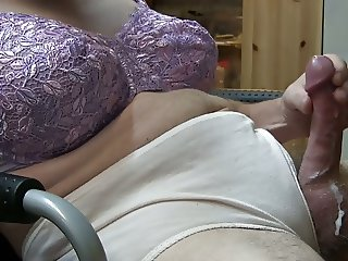 Crossdresser Cumshot Purple Bra Beige Panty