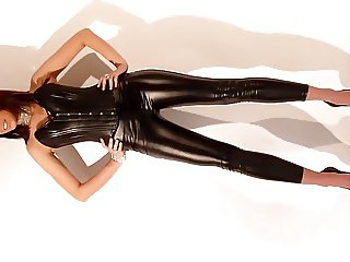 sexy tight shiny outfit with heels