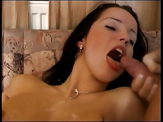 Brunette slut gets her tight ass filled then swallows the load