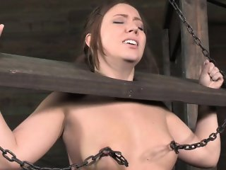 BDSM hogtied bondage sub nipple punished