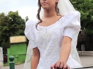 Glamorous bride sucks a big hard dick