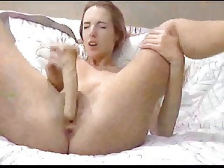 Cute dirty blonde pounds pussy on webcam