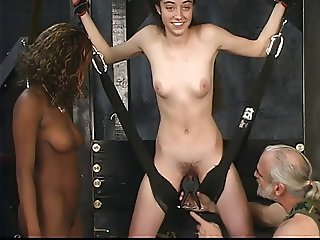 Sexy chick submits to black Dom and white Domme