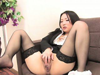 Japanese girl in nylon stockings masturbates