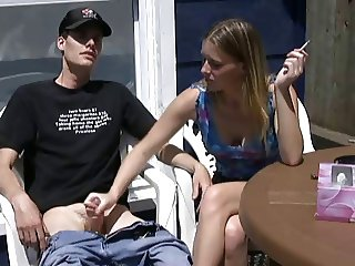 Erica smokes a cigarette and jerk off a boy!