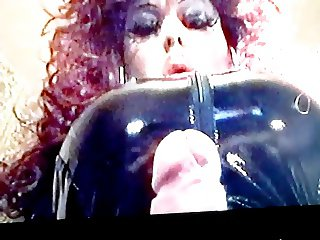 Big titted PVC TV smoking wank part 1
